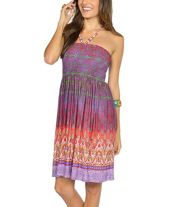 Purple Beaded Batik Halter Dress