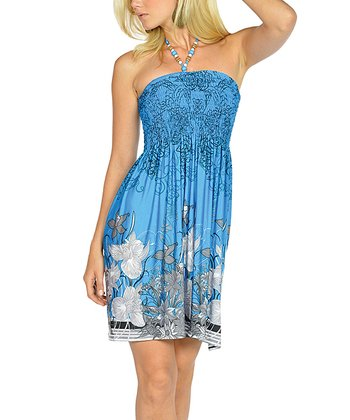Blue Beaded Floral Halter Dress