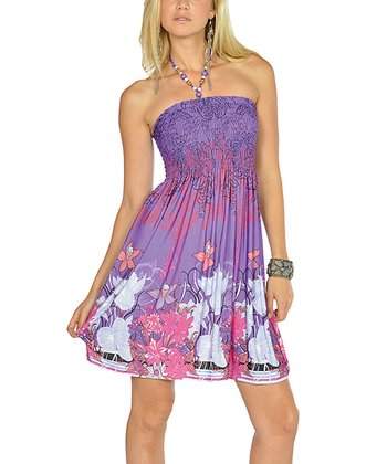 Purple Beaded Floral Halter Dress
