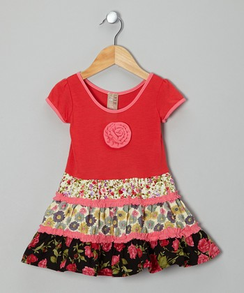 Coral Floral Patchwork Dress - Toddler & Girls