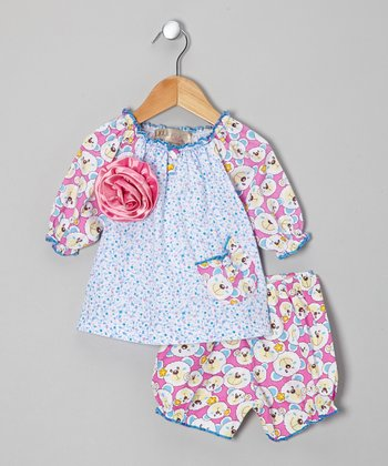 Light Blue Bear Bloomer Set - Infant