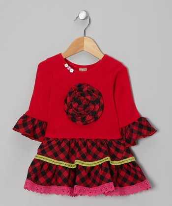 Red & Black Gingham Dress - Toddler & Girls
