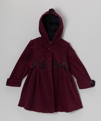 Plum Flower Hooded Swing Coat - Toddler & Girls