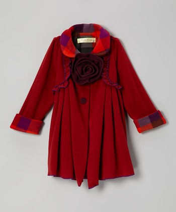 Burgundy Plaid Ruffle Rosette Swing Coat - Toddler & Girls