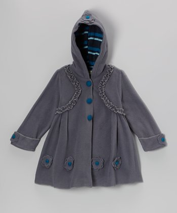 Gray Ruffle Hooded Swing Coat - Toddler & Girls
