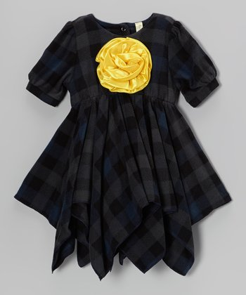 Charcoal Plaid Handkerchief Dress - Toddler & Girls