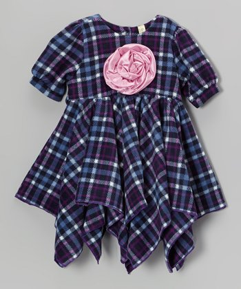 Purple Plaid Handkerchief Dress - Toddler & Girls