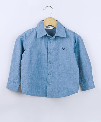 Blue Pin Dot Chambray Button-Up - Infant, Toddler & Boys