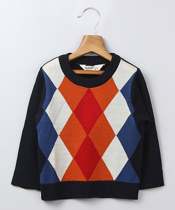 Navy Argyle Raglan Sweater - Infant, Toddler & Boys
