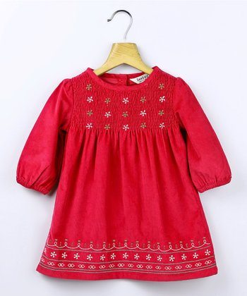 Red Corduroy Smocked Dress - Infant & Toddler