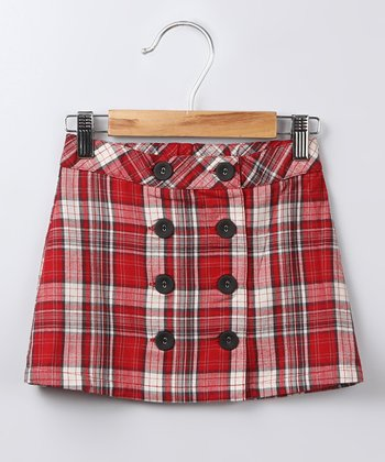 Red Plaid Button-Up Twill Skirt  - Girls
