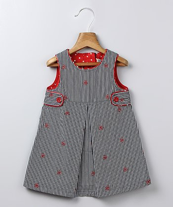 Navy Stripe Bow A-Line Dress - Infant & Toddler