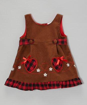 Brown Heart Corduroy Dress - Toddler & Girls