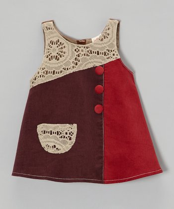 Purple & Red Lace Patch Corduroy Dress - Toddler & Girls