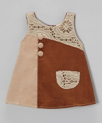 Brown Lace Patch Corduroy Dress - Toddler & Girls
