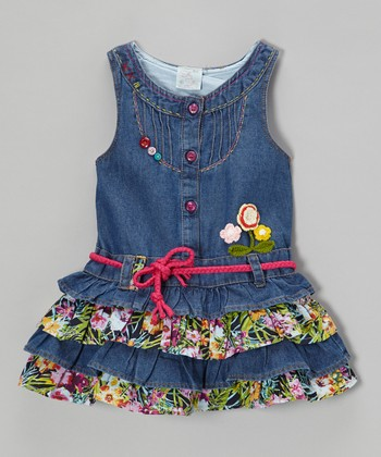 Denim & Fuchsia Ruffle Tiered Dress - Infant, Toddler & Girls