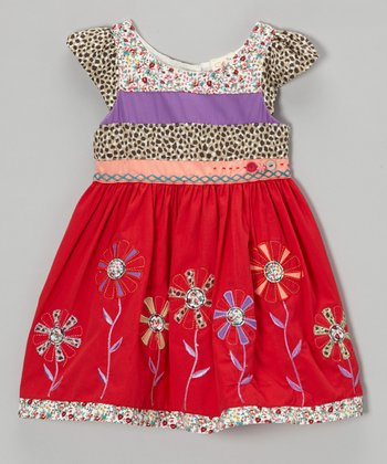 Red Floral Cap-Sleeve Dress - Infant, Toddler & Girls