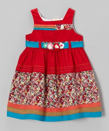 Red & Blue Floral Sash Dress - Infant, Toddler & Girls