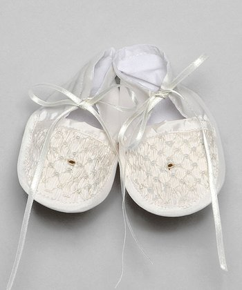Ivory Smocked Silk Booties