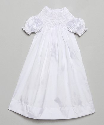 White Smocked Yoke Silk Gown