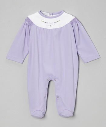 Violet & White Smocked Footie - Infant