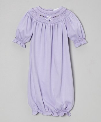 Violet Flower Smocked Yoke Gown - Infant