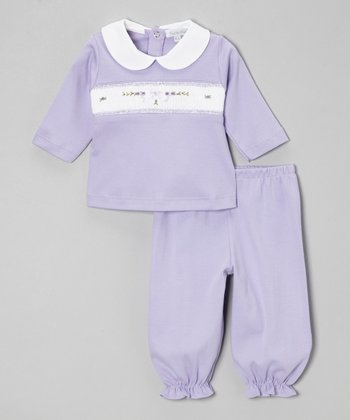 Violet Flower Smocked Peter Pan Top & Ruffle Pants - Infant