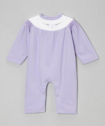 Violet & White Flower Smocked Playsuit - Infant