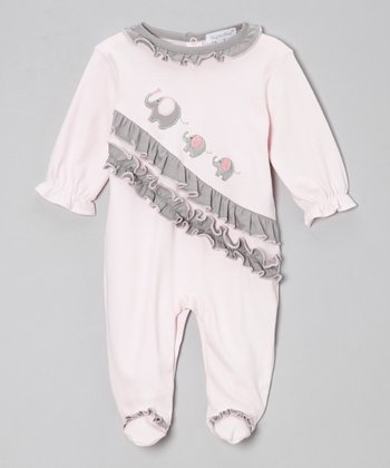 Pink & Gray Elephant Ruffle Footie - Infant