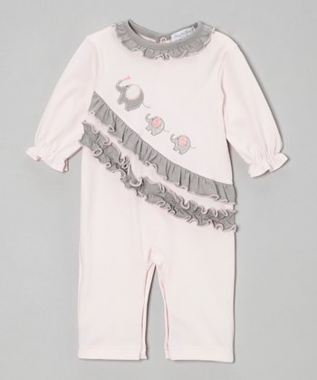 Pink & Gray Elephant Ruffle Playsuit - Infant