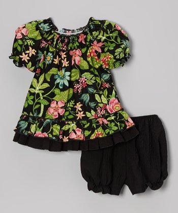 Green & Black Floral Smocked Top & Bloomers - Infant