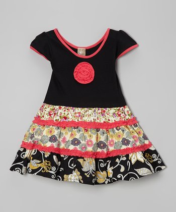 Black & Pink Tiered Dress - Toddler & Girls