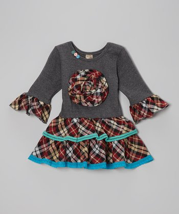 Charcoal & Blue Plaid Tiered Dress - Toddler & Girls