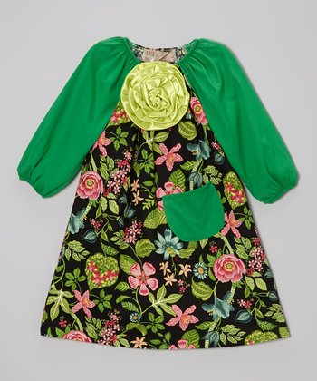 Green Floral Dress - Toddler & Girls