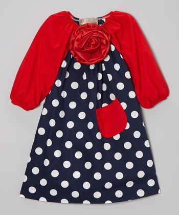 Navy Polka Dot & Red Flower Peasant Dress - Toddler & Girls