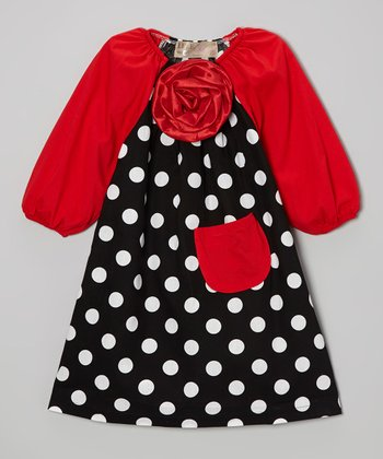 Black Polka Dot & Red Flower Dress - Toddler & Girls
