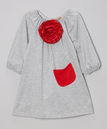 Gray & Red Flower Peasant Dress - Toddler & Girls