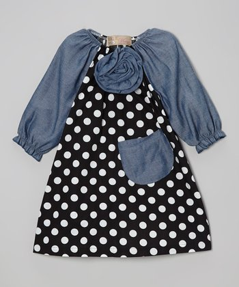 Black Polka Dot & Denim Flower Peasant Dress - Toddler & Girls