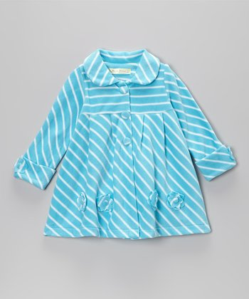 Aqua Flowers Coat - Toddler & Girls