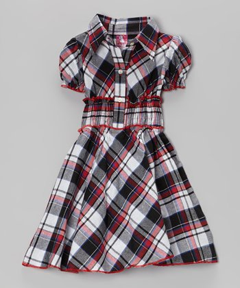 Black & Red Plaid Shirt Dress - Toddler & Girls