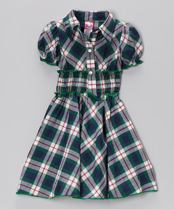 Green Plaid Dress - Toddler & Girls