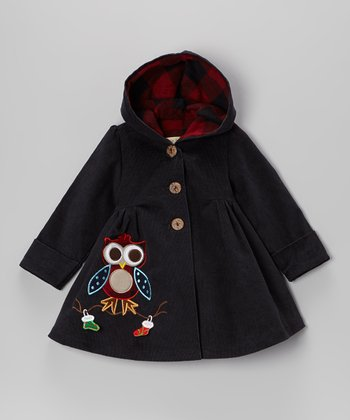 Navy Christmas Owl Corduroy Hooded Coat - Toddler & Girls