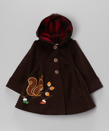 Brown Christmas Squirrel Corduroy Hooded Coat - Toddler & Girls