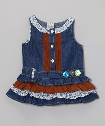 Blue Denim Button Dress - Infant, Toddler & Girls