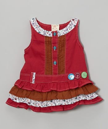 Red & Brown Floral Dress - Infant, Toddler & Girls