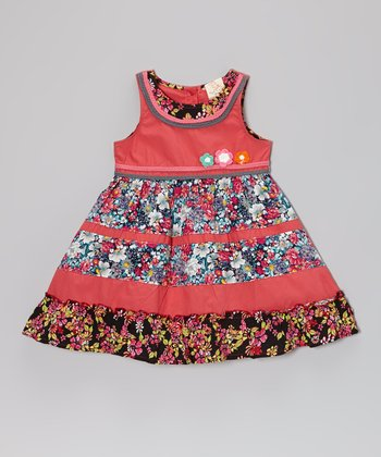 Coral Floral Dress - Infant, Toddler, Girls