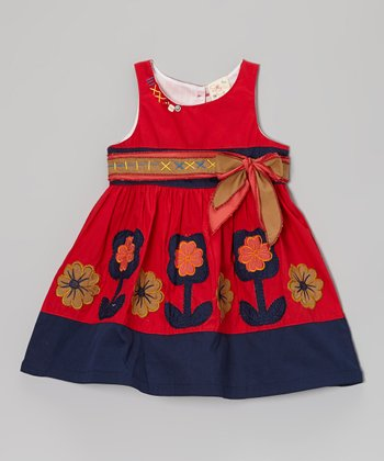 Red & Navy Flower Dress - Infant, Toddler & Girls
