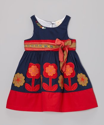 Navy & Brown Flower Dress - Infant, Toddler & Girls