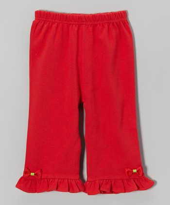 Red Bow Ruffle Pants - Infant & Toddler