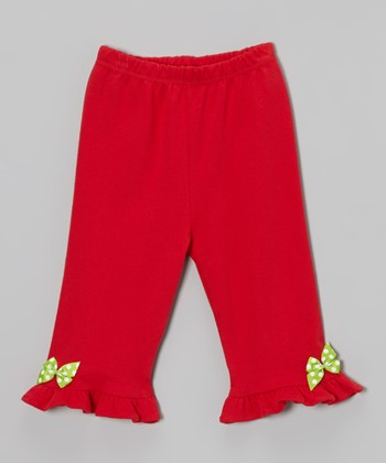 Red Snow Bird Ruffle Bow Pants - Infant & Toddler